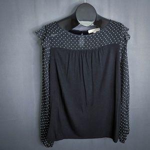Ann Taylor LOFT Top Shirt Size Medium Black Womens